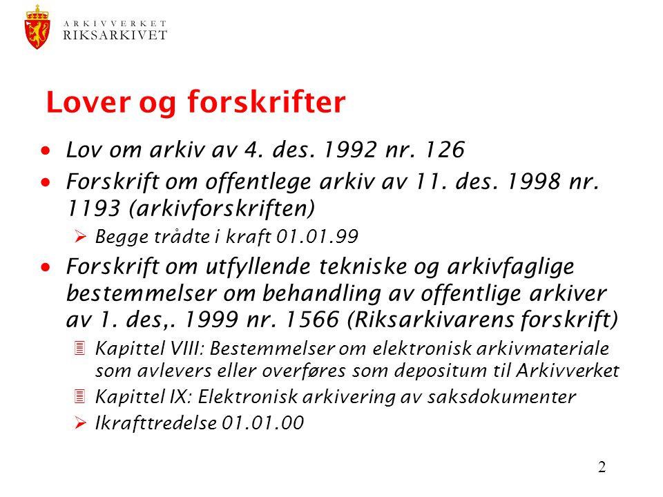 Lover og forskrifter Lov om arkiv av 4. des. 1992 nr. 126