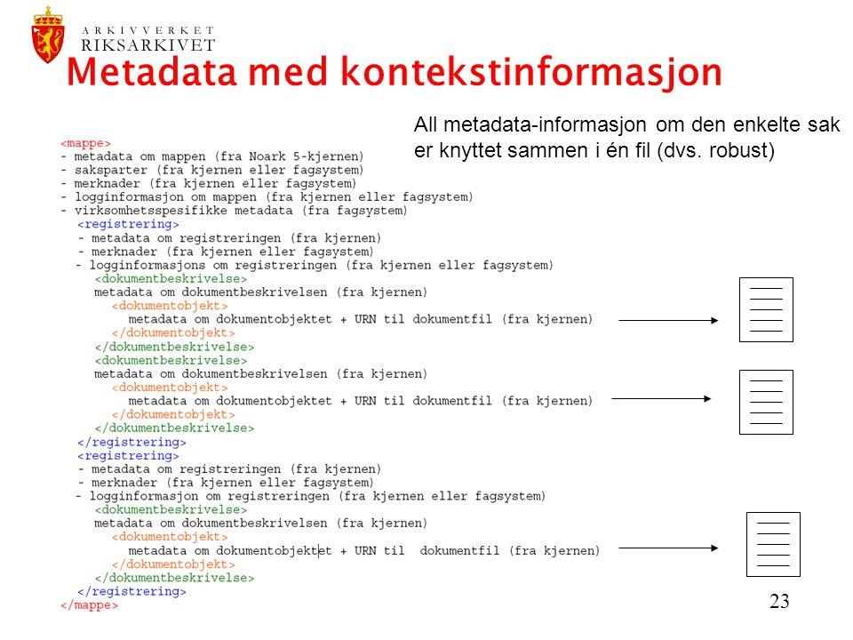 Metadata med kontekstinformasjon