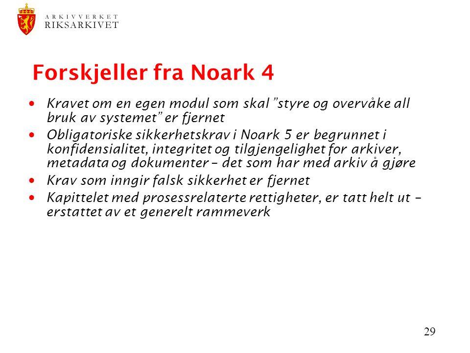 Forskjeller fra Noark 4 Kravet om en egen modul som skal styre og overvåke all bruk av systemet er fjernet.