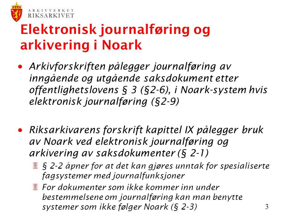 Elektronisk journalføring og arkivering i Noark