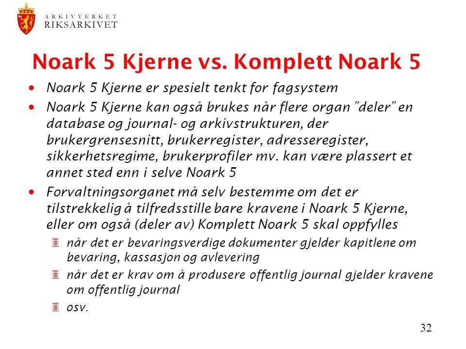Noark 5 Kjerne vs. Komplett Noark 5