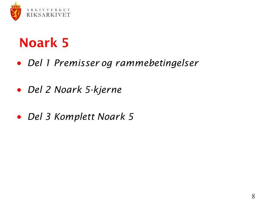 Noark 5 Del 1 Premisser og rammebetingelser Del 2 Noark 5-kjerne
