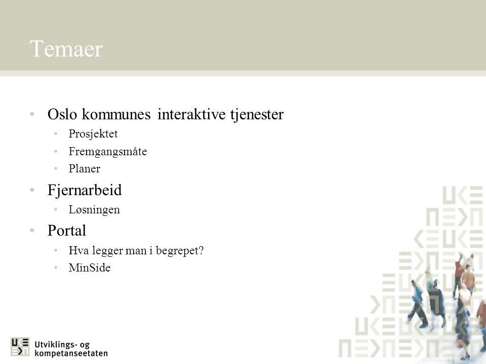 Temaer Oslo kommunes interaktive tjenester Fjernarbeid Portal