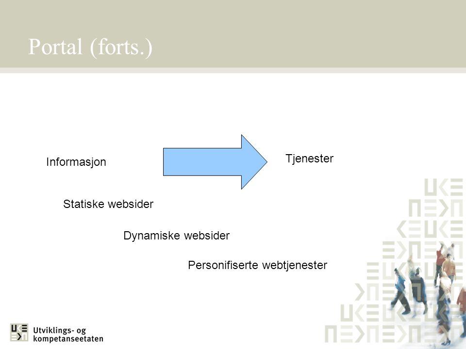 Portal (forts.) Tjenester Informasjon Statiske websider