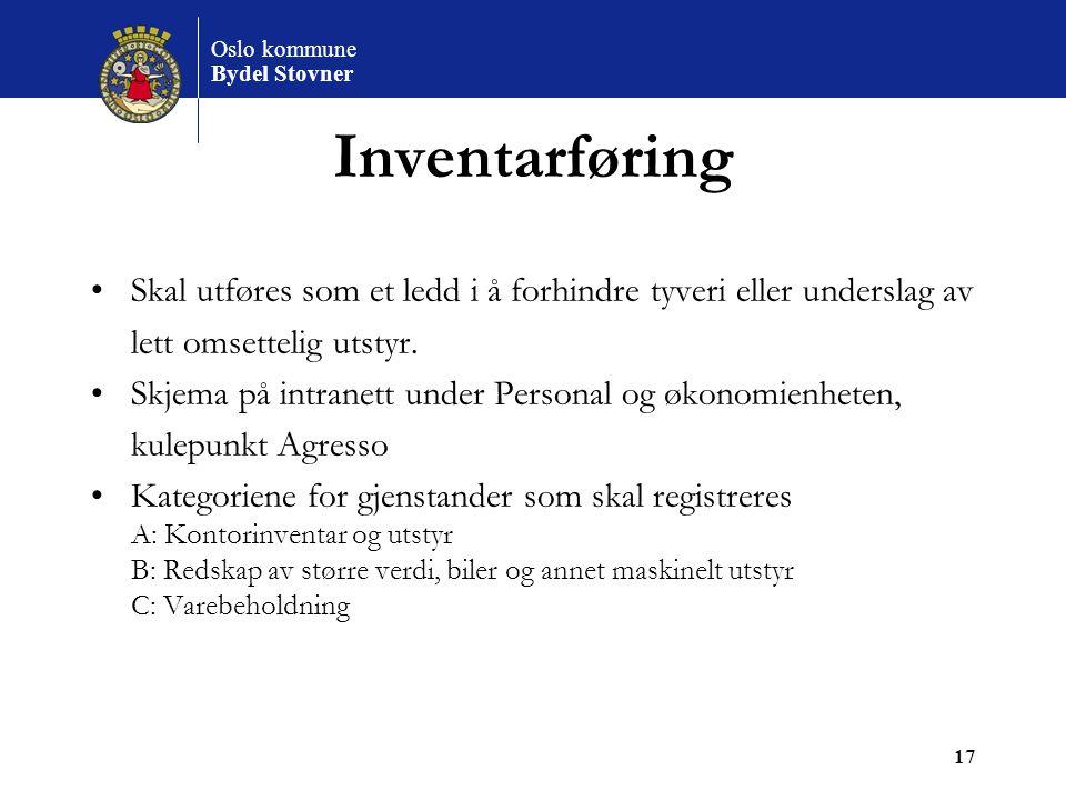 Inventarføring Skal utføres som et ledd i å forhindre tyveri eller underslag av. lett omsettelig utstyr.