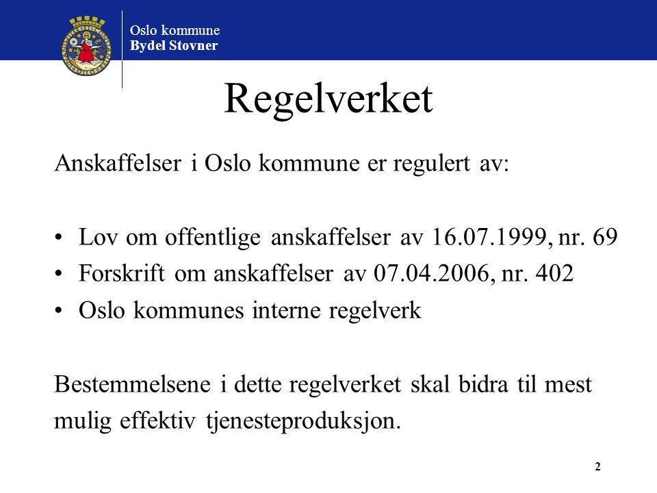 Regelverket Anskaffelser i Oslo kommune er regulert av: