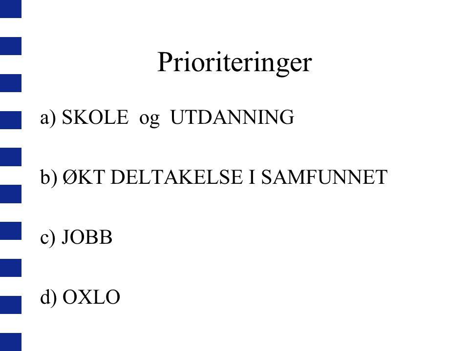 Prioriteringer a) SKOLE og UTDANNING b) ØKT DELTAKELSE I SAMFUNNET