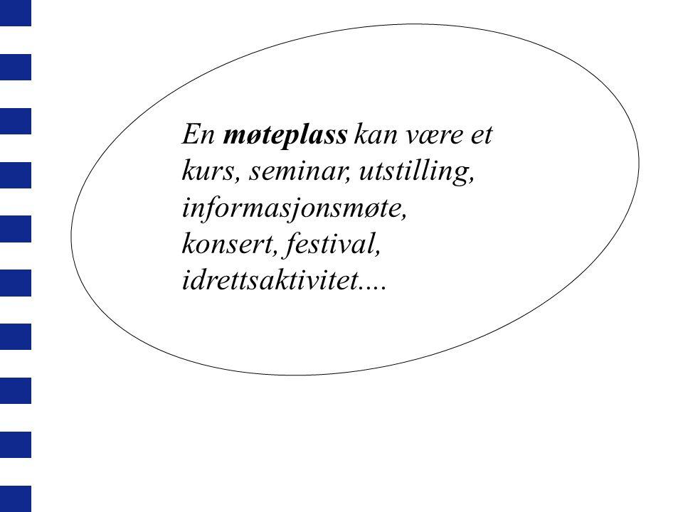 En møteplass kan være et kurs, seminar, utstilling, informasjonsmøte, konsert, festival, idrettsaktivitet....