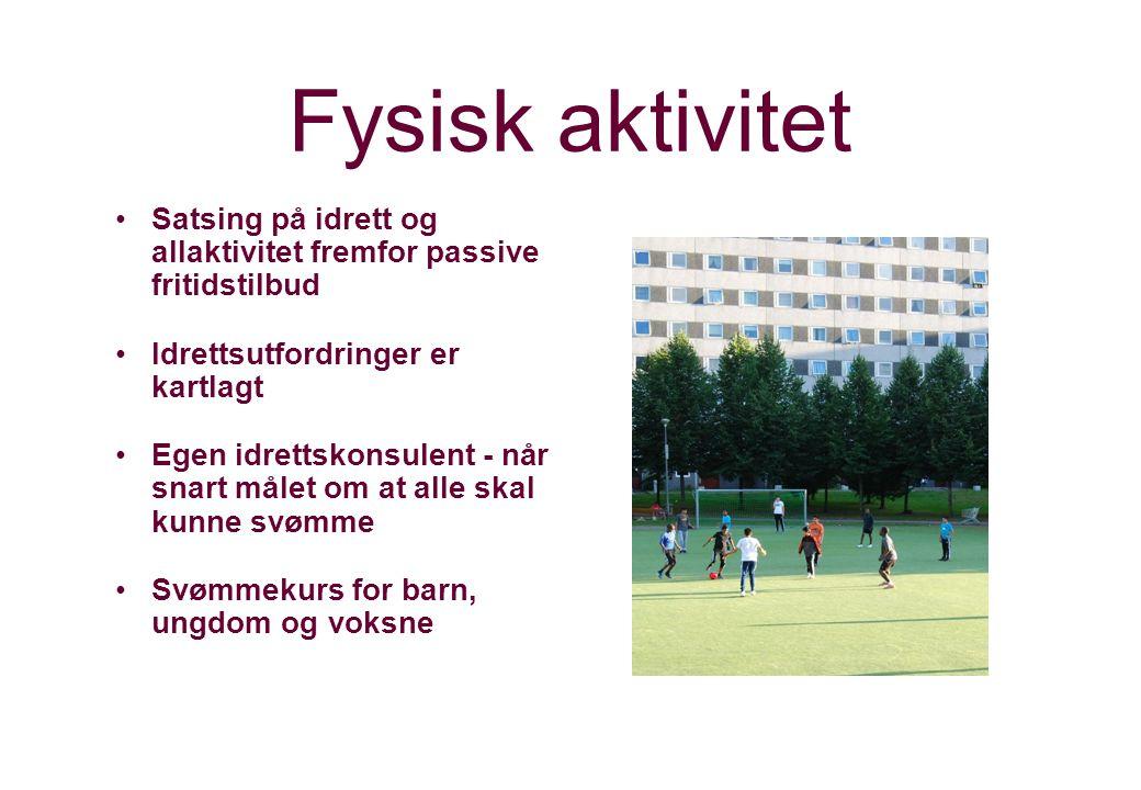 Fysisk aktivitet Satsing på idrett og allaktivitet fremfor passive fritidstilbud. Idrettsutfordringer er kartlagt.