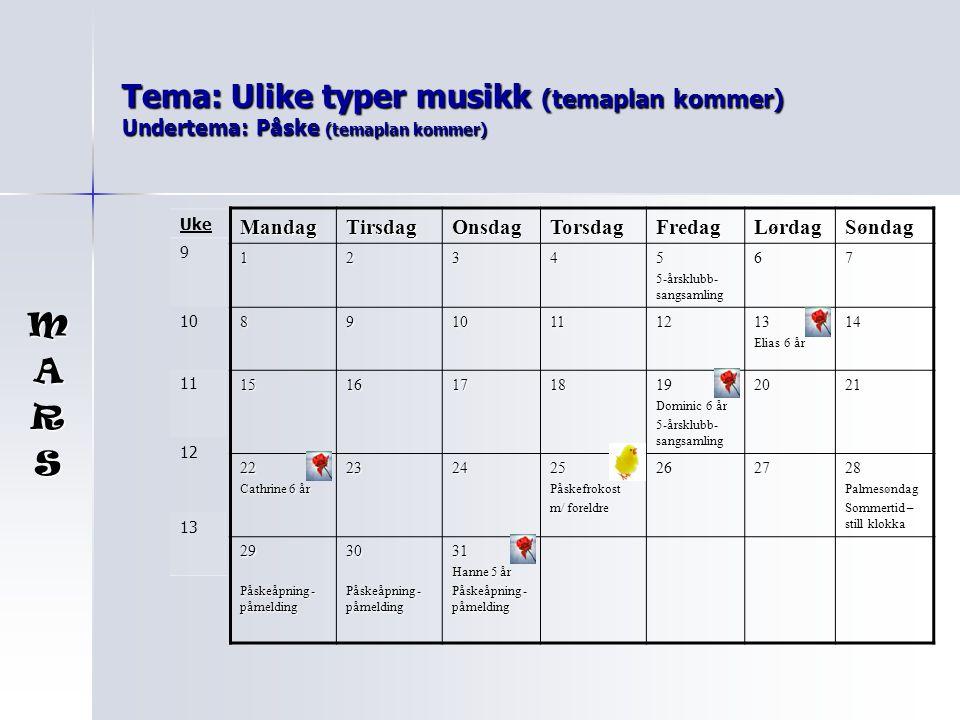 Tema: Ulike typer musikk (temaplan kommer) Undertema: Påske (temaplan kommer)