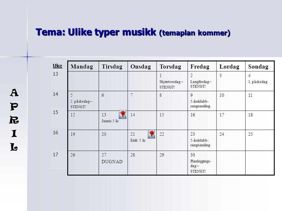 Tema: Ulike typer musikk (temaplan kommer)