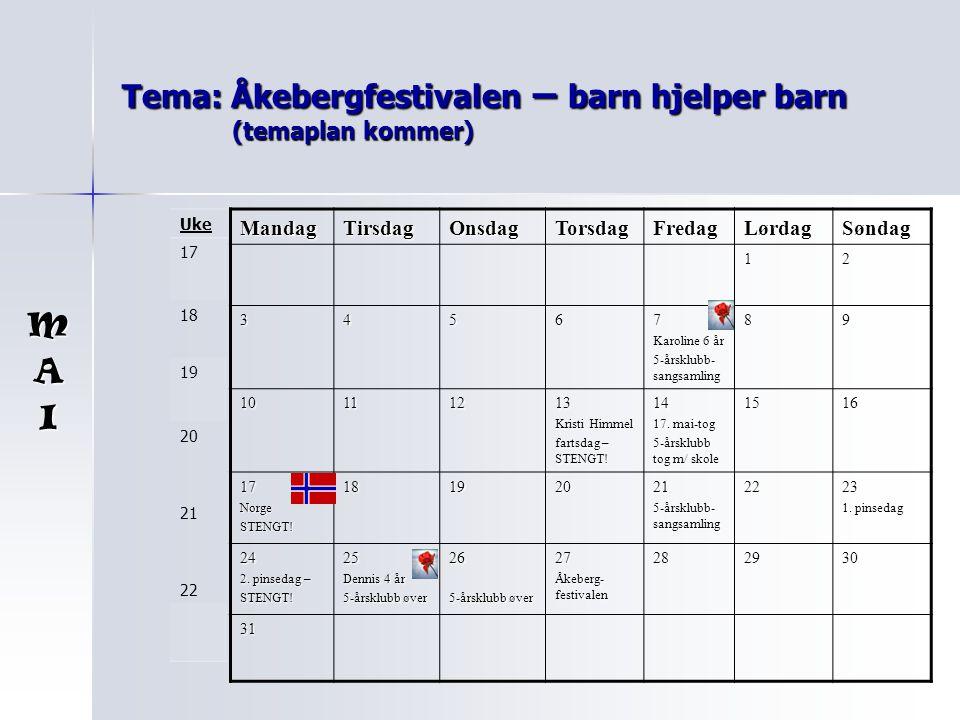 Tema: Åkebergfestivalen – barn hjelper barn (temaplan kommer)