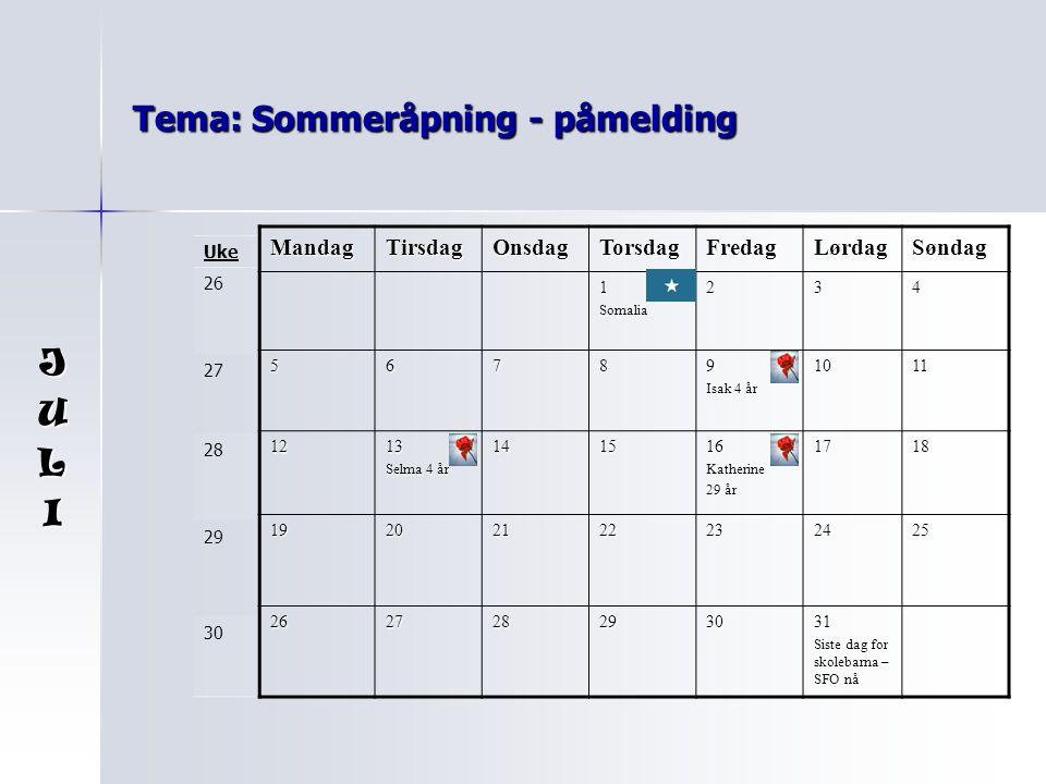 Tema: Sommeråpning - påmelding