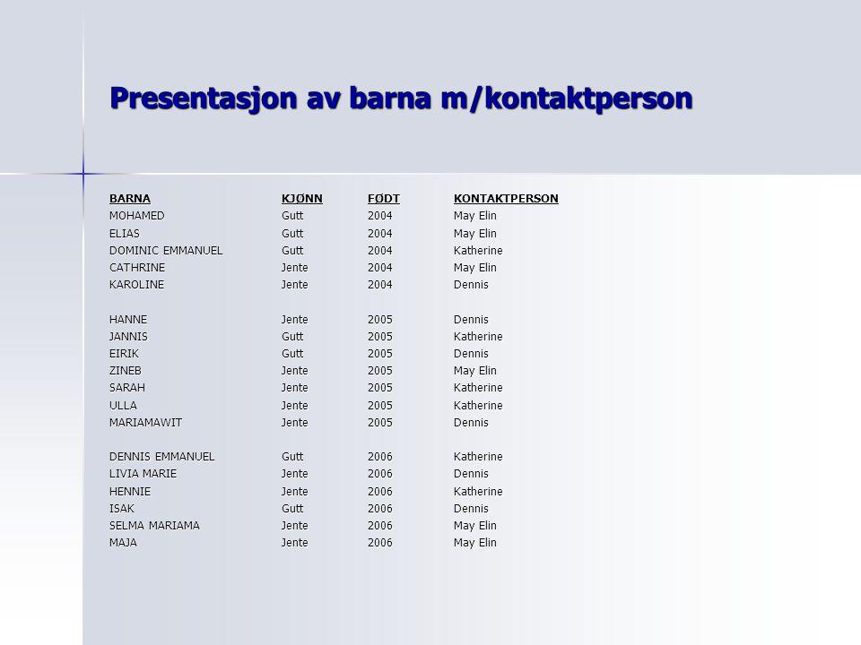 Presentasjon av barna m/kontaktperson