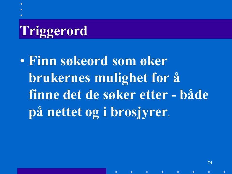 Triggerord Finn søkeord som øker brukernes mulighet for å finne det de søker etter - både på nettet og i brosjyrer.