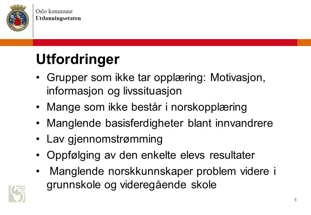 Utfordringer Grupper som ikke tar opplæring: Motivasjon, informasjon og livssituasjon. Mange som ikke består i norskopplæring.
