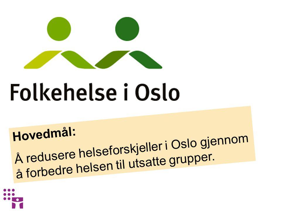 Hovedmål: Å redusere helseforskjeller i Oslo gjennom å forbedre helsen til utsatte grupper.
