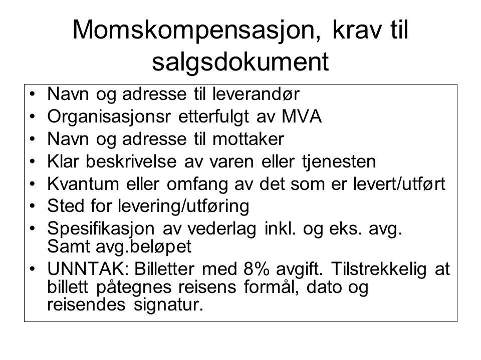 Momskompensasjon, krav til salgsdokument