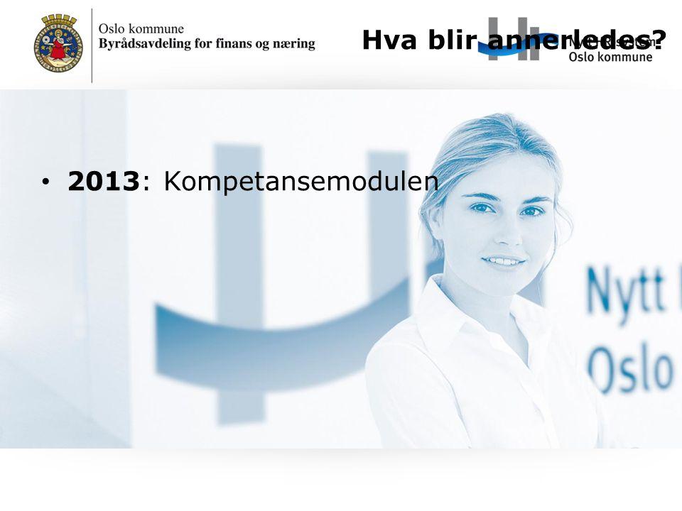 Hva blir annerledes 2013: Kompetansemodulen