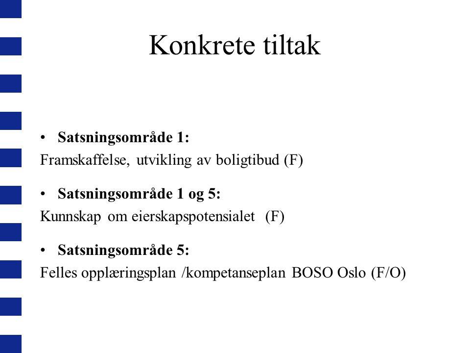 Konkrete tiltak Satsningsområde 1: