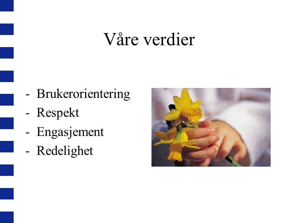 Våre verdier Brukerorientering Respekt Engasjement Redelighet