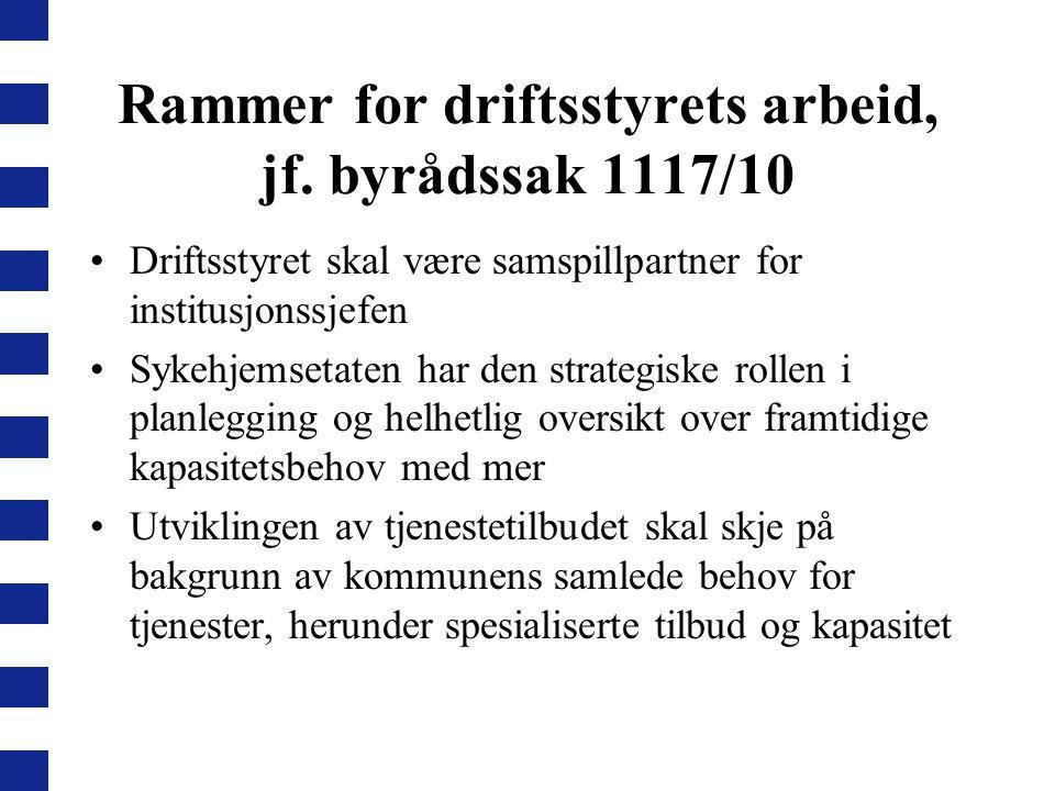 Rammer for driftsstyrets arbeid, jf. byrådssak 1117/10