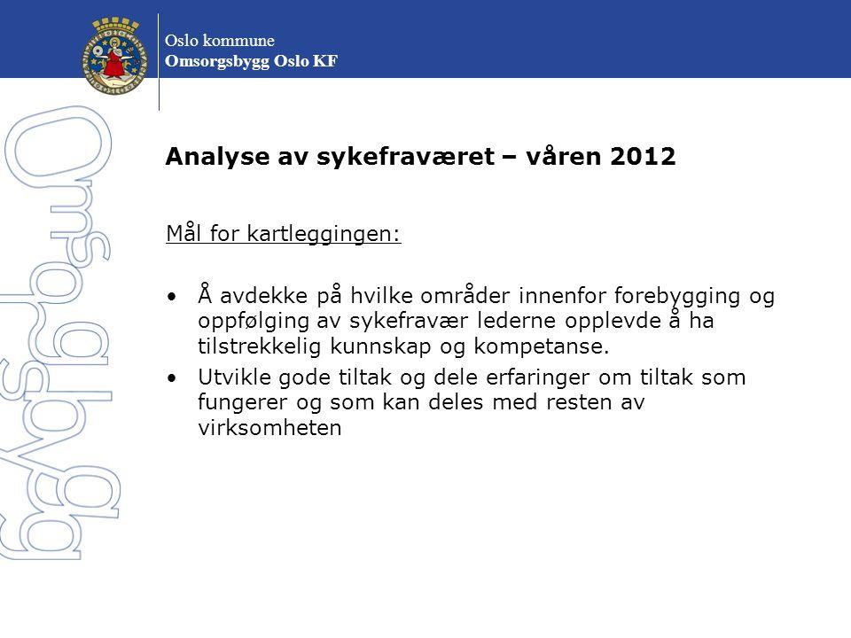 Analyse av sykefraværet – våren 2012