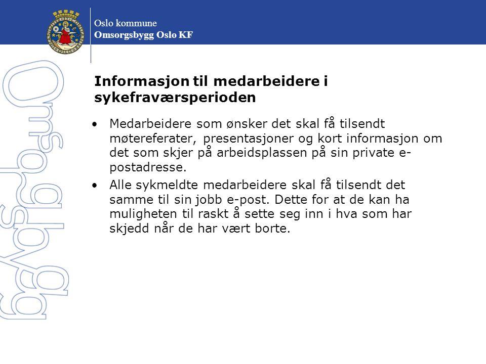 Informasjon til medarbeidere i sykefraværsperioden