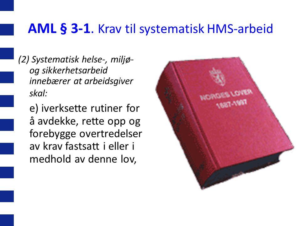 AML § 3-1. Krav til systematisk HMS-arbeid