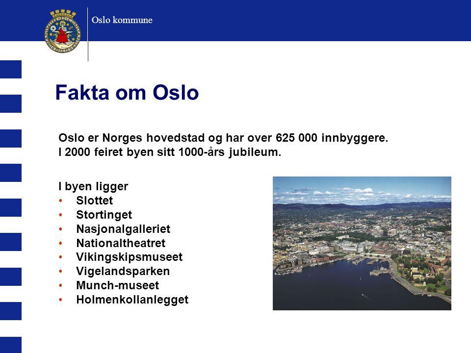 Oslo kommune Fakta om Oslo. Oslo er Norges hovedstad og har over 625 000 innbyggere. I 2000 feiret byen sitt 1000-års jubileum.