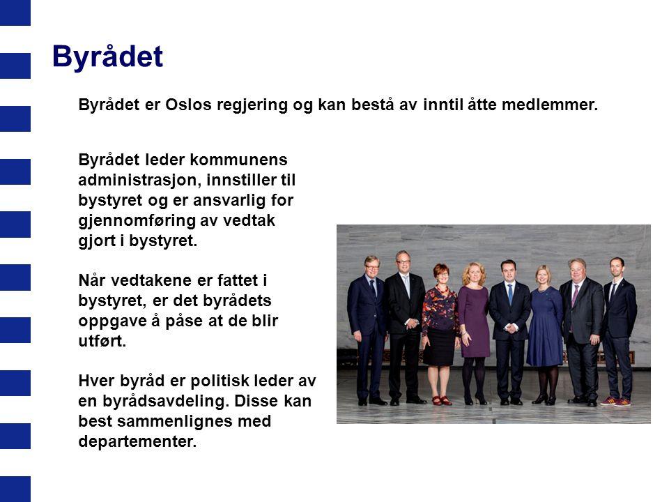 Byrådet Byrådet er Oslos regjering og kan bestå av inntil åtte medlemmer.