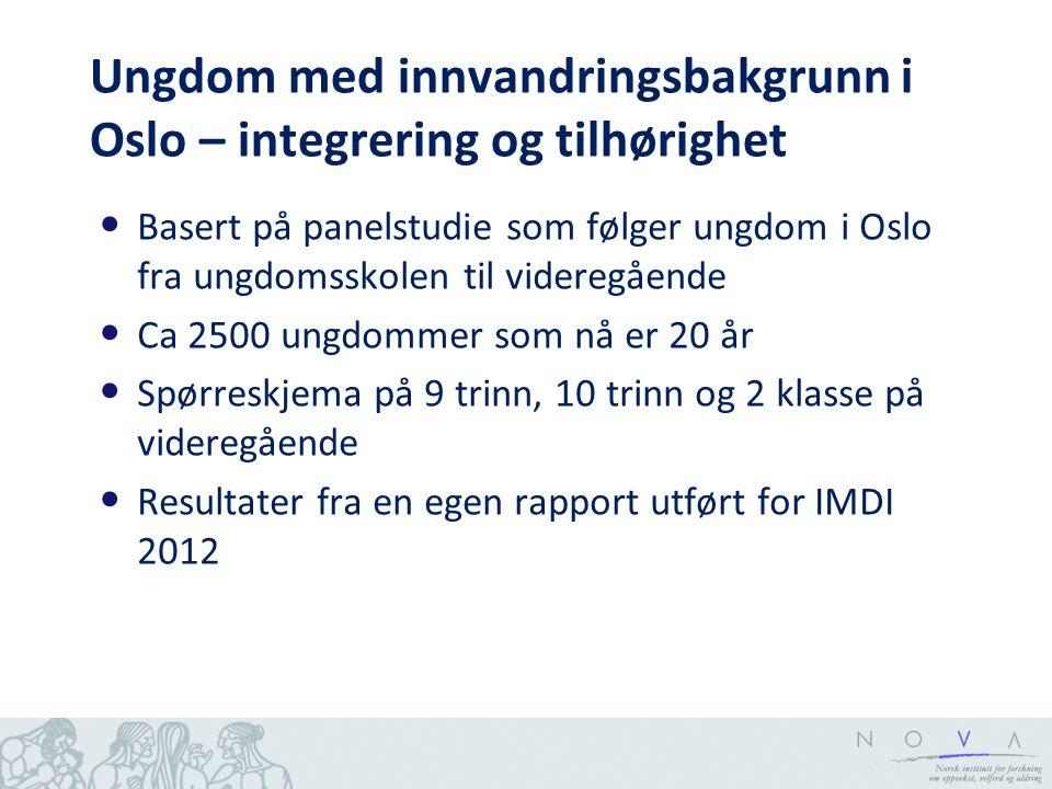 Ungdom med innvandringsbakgrunn i Oslo – integrering og tilhørighet