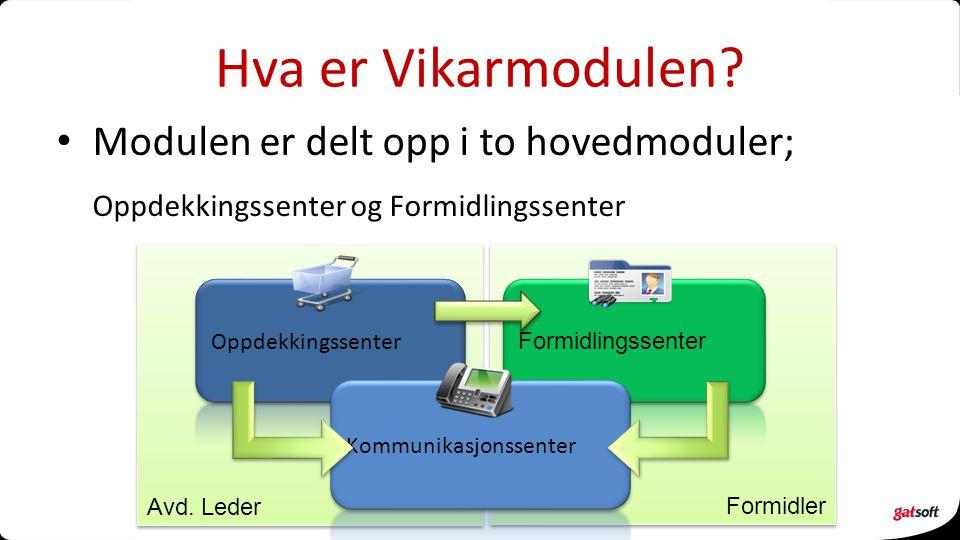 Hva er Vikarmodulen Modulen er delt opp i to hovedmoduler;