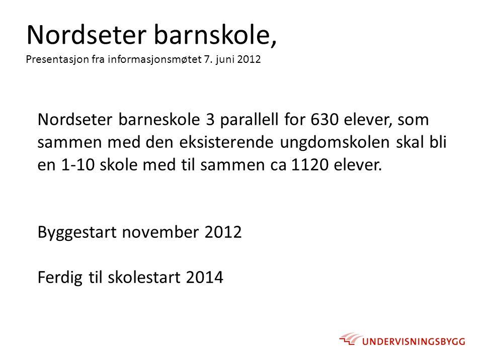 Nordseter barnskole, Presentasjon fra informasjonsmøtet 7. juni 2012.