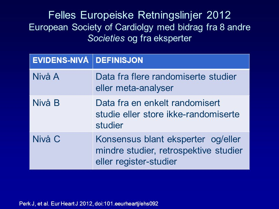 Felles Europeiske Retningslinjer 2012 European Society of Cardiolgy med bidrag fra 8 andre Societies og fra eksperter