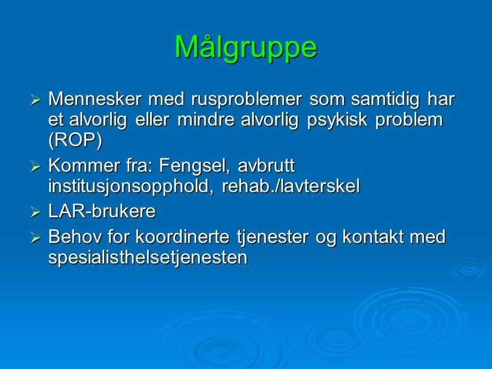 Målgruppe Mennesker med rusproblemer som samtidig har et alvorlig eller mindre alvorlig psykisk problem (ROP)