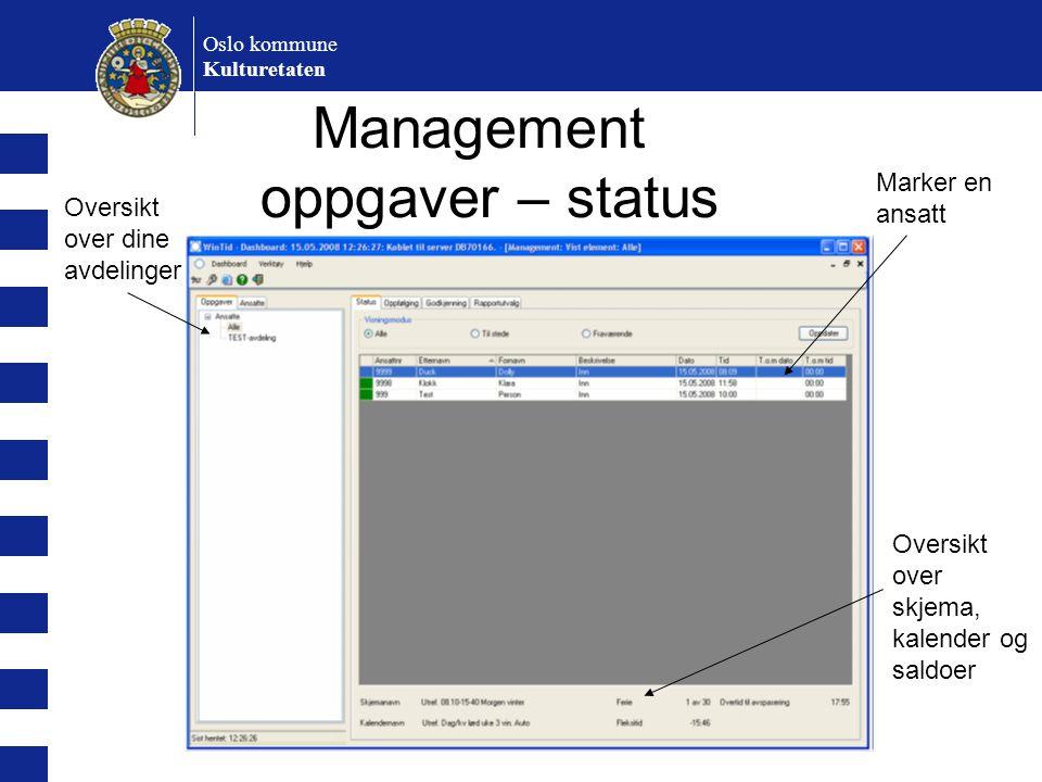 Management oppgaver – status
