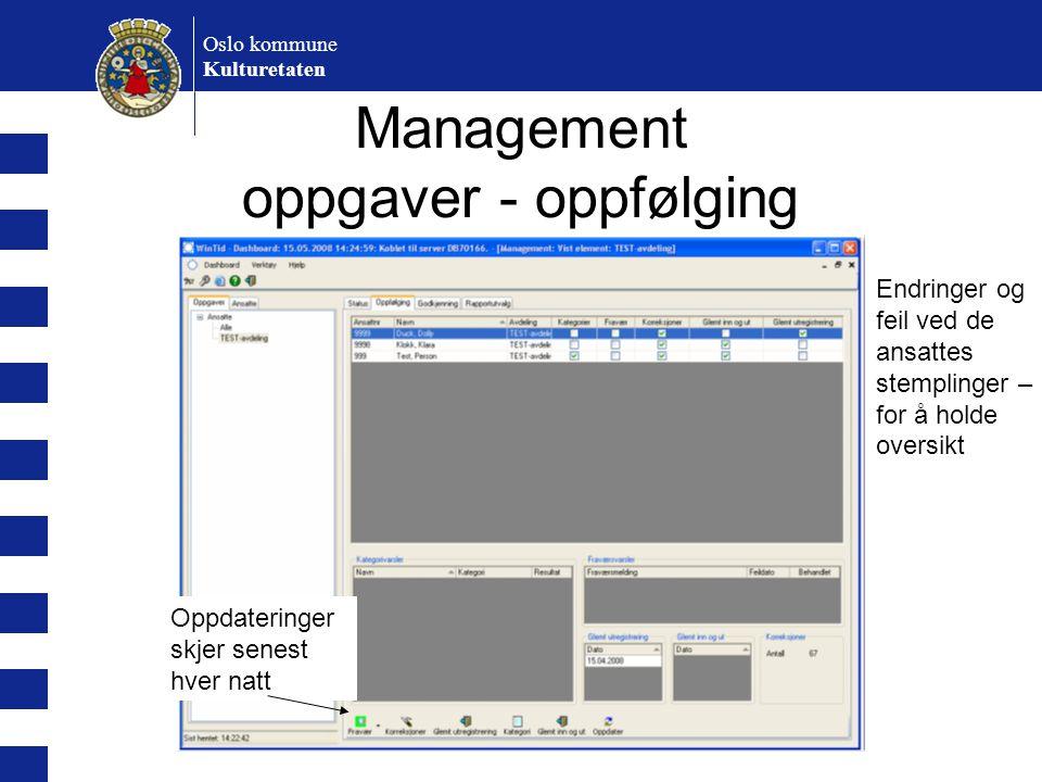 Management oppgaver - oppfølging