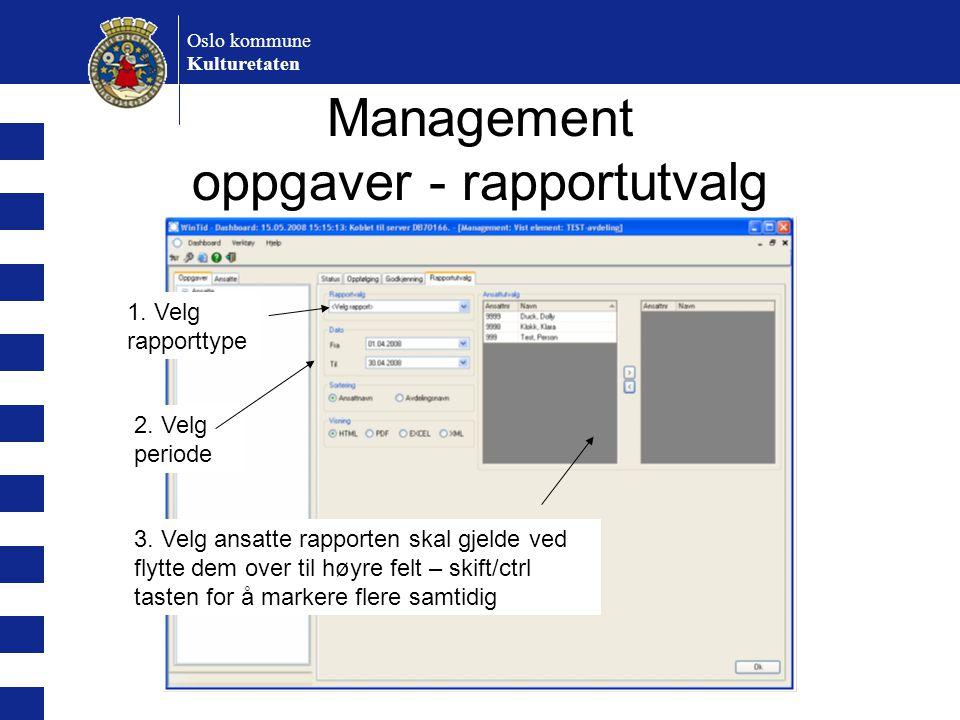 Management oppgaver - rapportutvalg