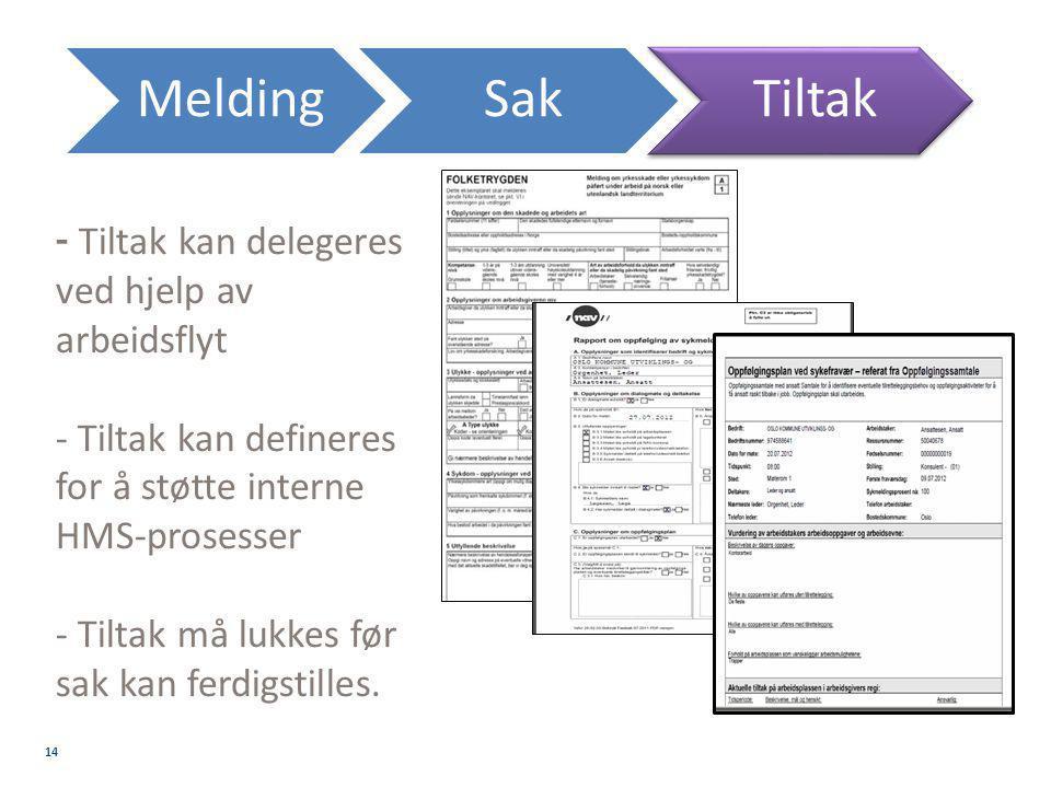 Melding Sak Tiltak - Tiltak kan delegeres ved hjelp av arbeidsflyt