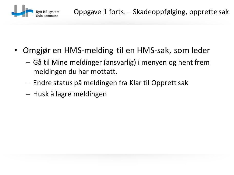 Omgjør en HMS-melding til en HMS-sak, som leder