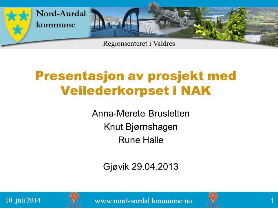 Presentasjon av prosjekt med Veilederkorpset i NAK