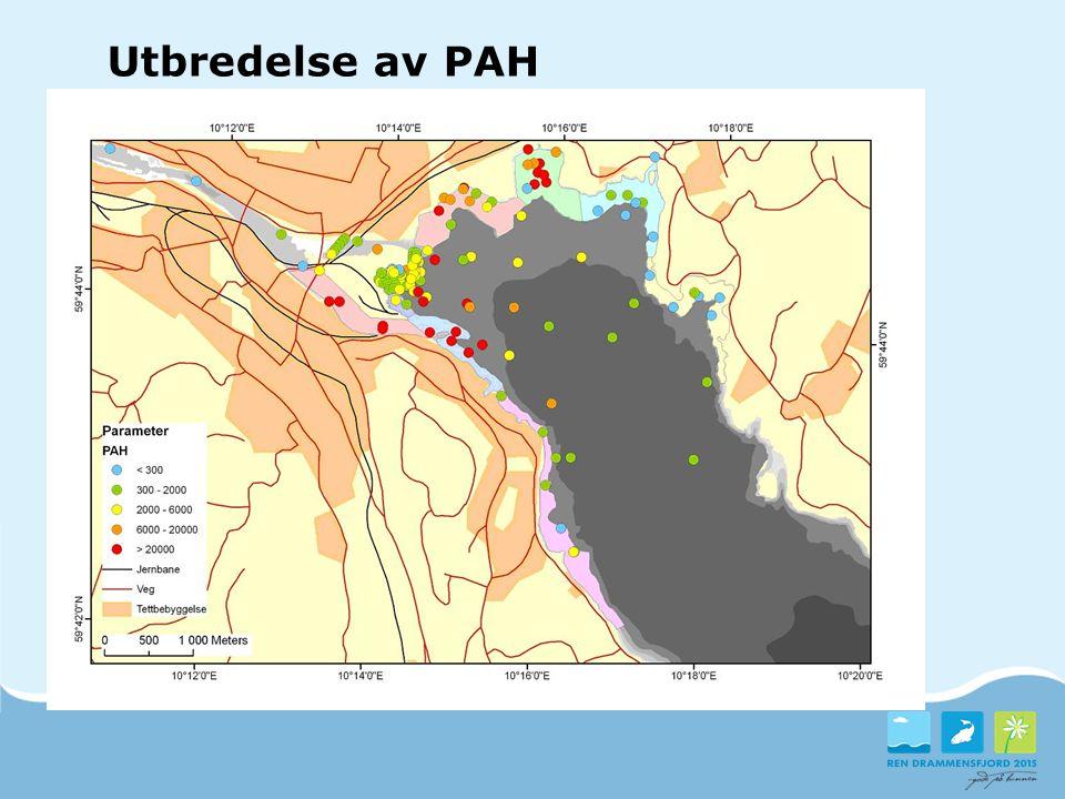 Utbredelse av PAH Eksempel på kart over miljøgiftene.