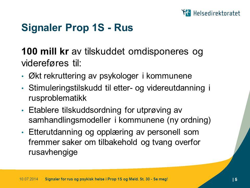 Signaler Prop 1S - Rus 100 mill kr av tilskuddet omdisponeres og videreføres til: Økt rekruttering av psykologer i kommunene.