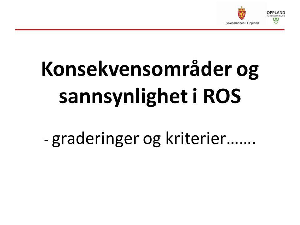 Konsekvensområder og sannsynlighet i ROS - graderinger og kriterier…….