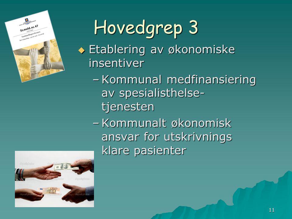 Hovedgrep 3 Etablering av økonomiske insentiver