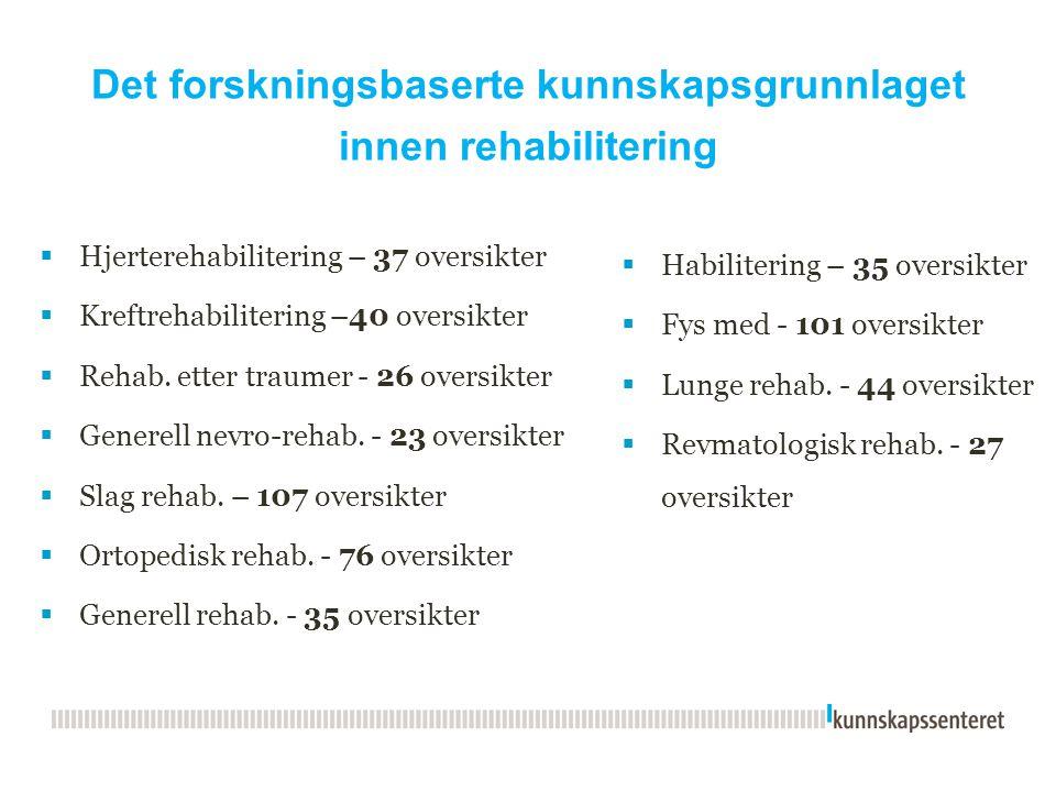 Det forskningsbaserte kunnskapsgrunnlaget innen rehabilitering