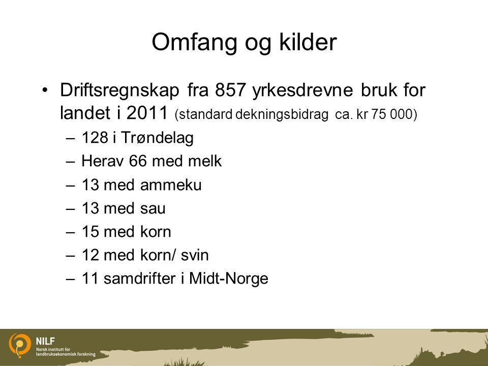 Omfang og kilder Driftsregnskap fra 857 yrkesdrevne bruk for landet i 2011 (standard dekningsbidrag ca. kr 75 000)