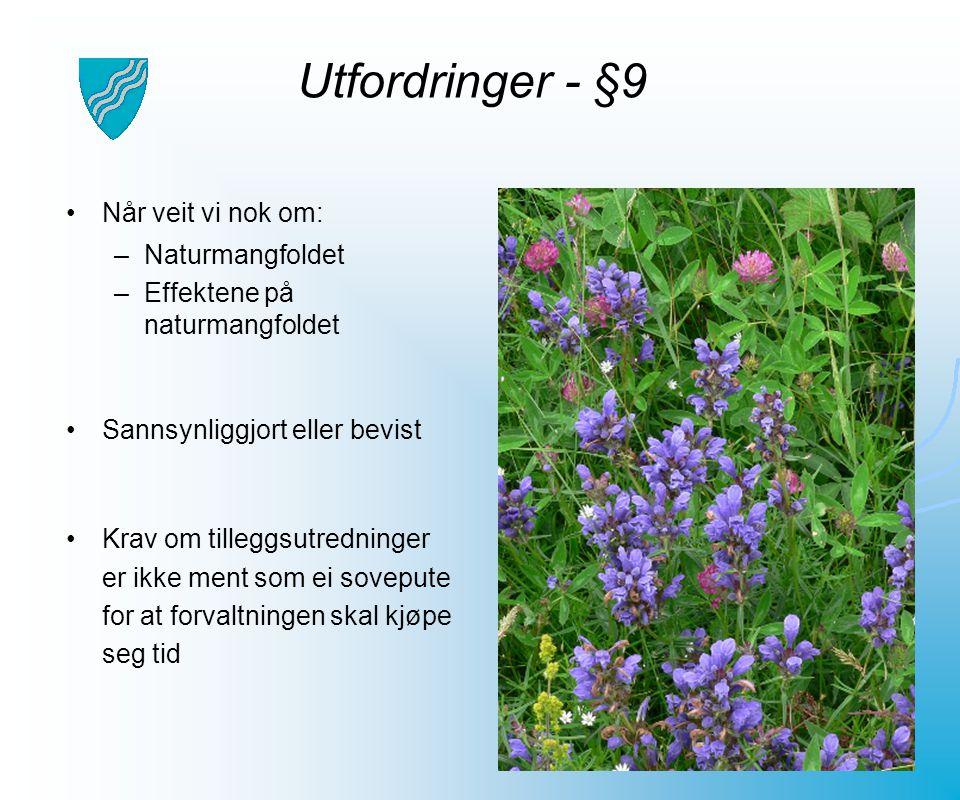 Utfordringer - §9 Når veit vi nok om: Naturmangfoldet