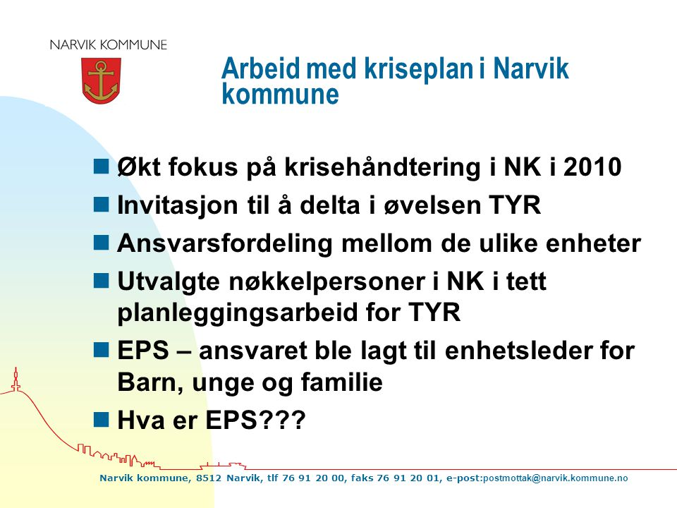Arbeid med kriseplan i Narvik kommune